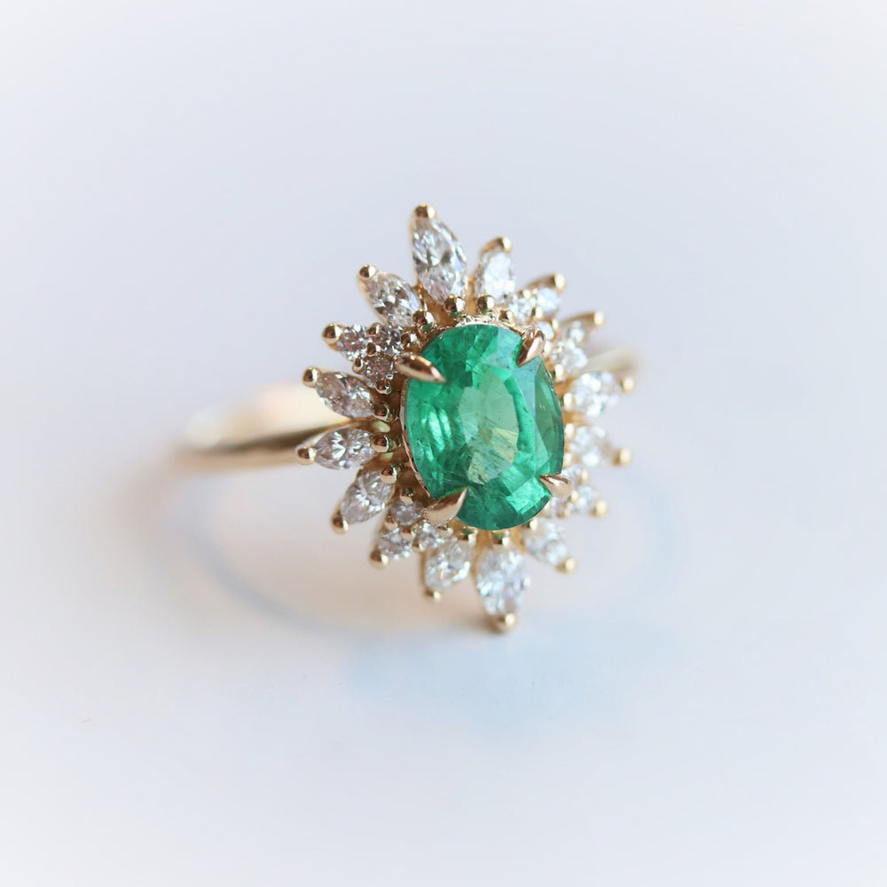 Lana | 14K 1 Carat Oval Emerald & Diamond Fancy Halo Luxury Ring
