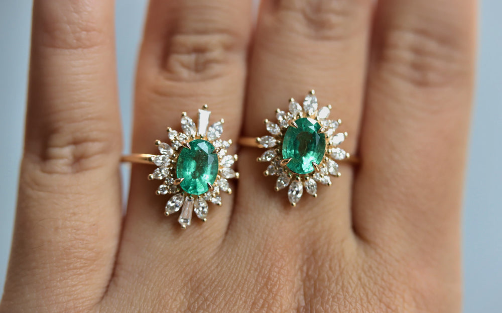 Laina | 14K 1 Carat Oval Emerald & Diamond Fancy Halo Luxury Ring