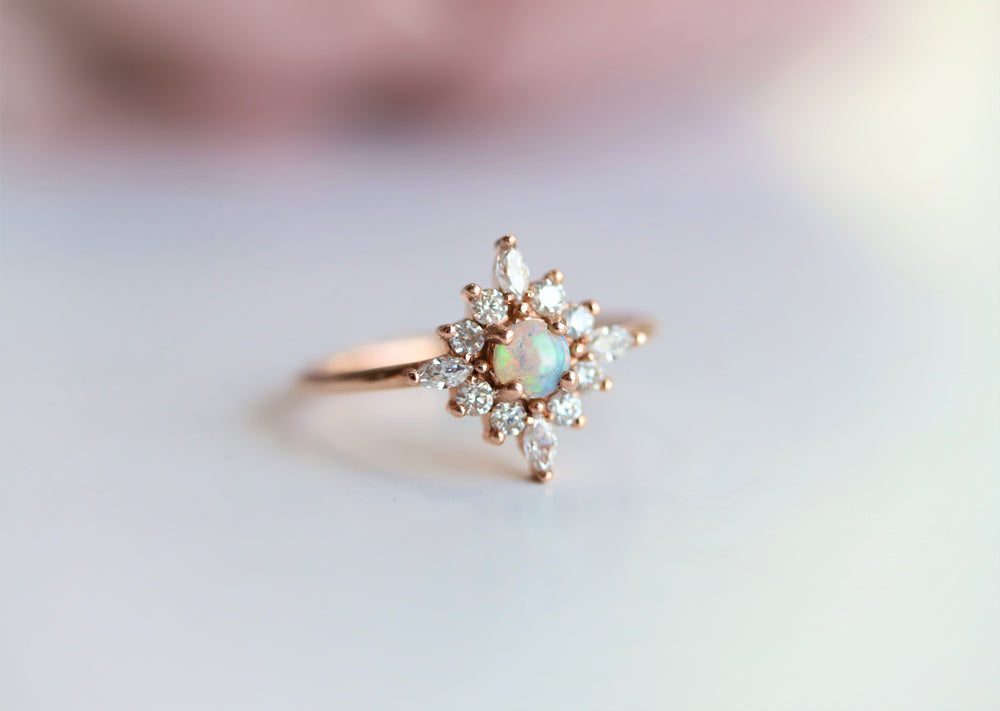 Skylar |  14K Australian Opal and Diamond Snowflake Fancy Halo Ring