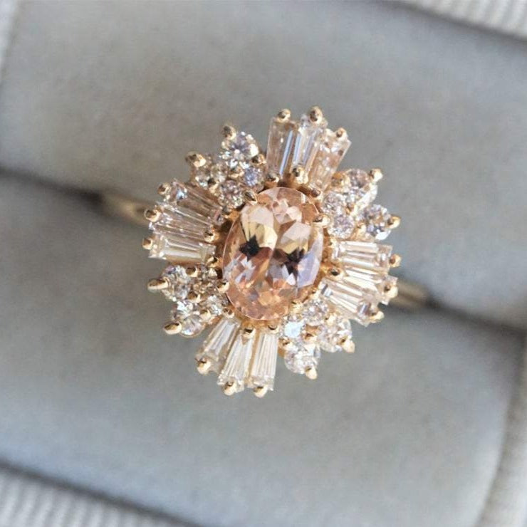 Victoria | 14K Morganite & Diamond Fancy Halo Luxury Ring