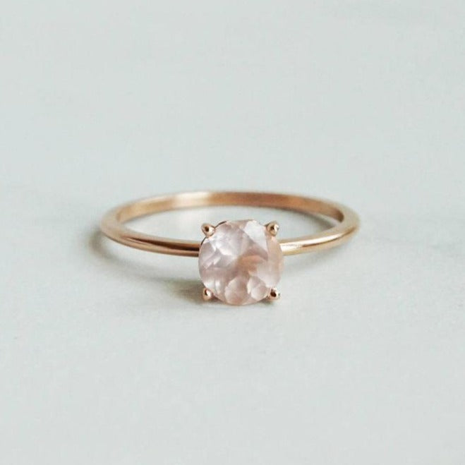 Butterfly | Round Rose Quartz Slender Vintage Inspired Solitaire Ring