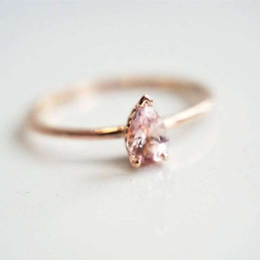 Claire | Pear Shaped Baby Pink Morganite Solitaire Ring