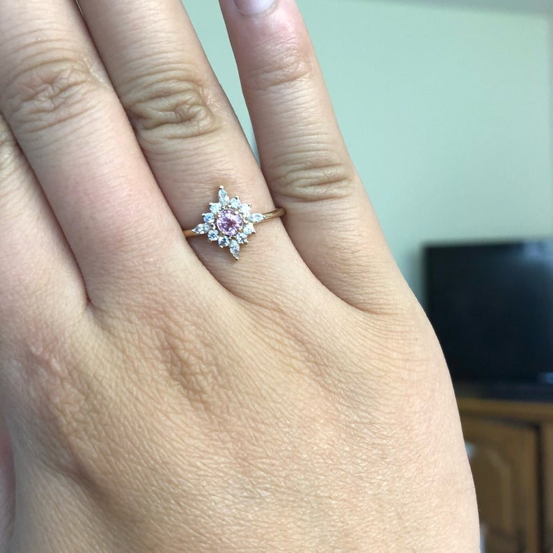 Skylar | Pink Sapphire & Diamond Snowflake Fancy Halo Ring