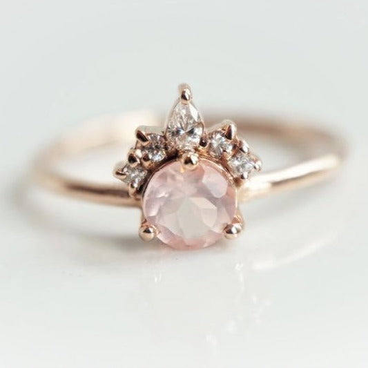 Olivia | 14K Rose Quartz & Diamond Crown Cluster Ring