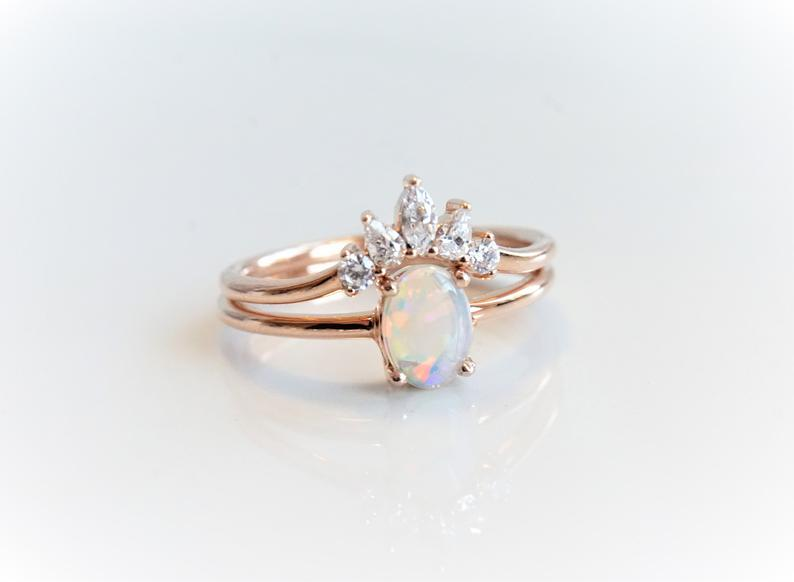 EVA | 14K Oval Australian Opal Solitaire Engagement Ring