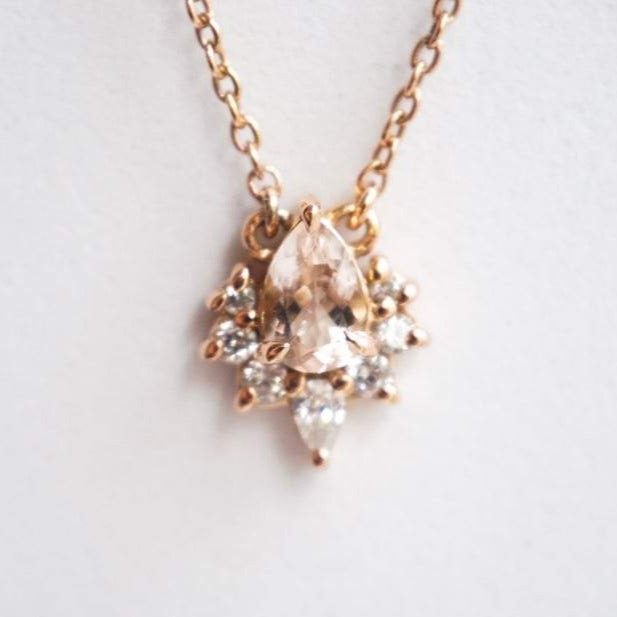 Ophelia | Pear Morganite & Diamond Floating Crown Pendant Necklace