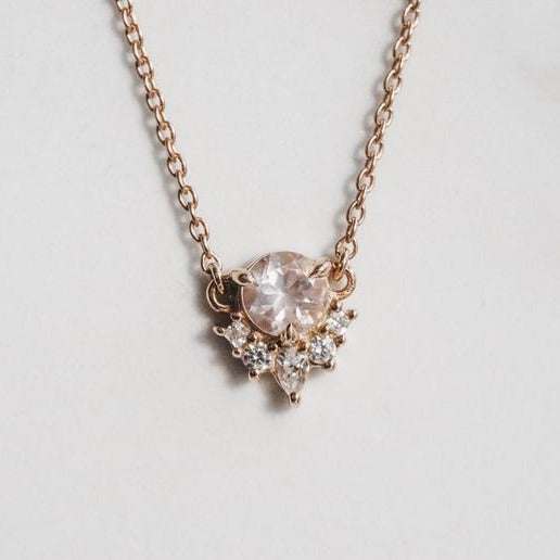 Olivia | 14K Rose Quartz & Diamond Crown Pendant Necklace