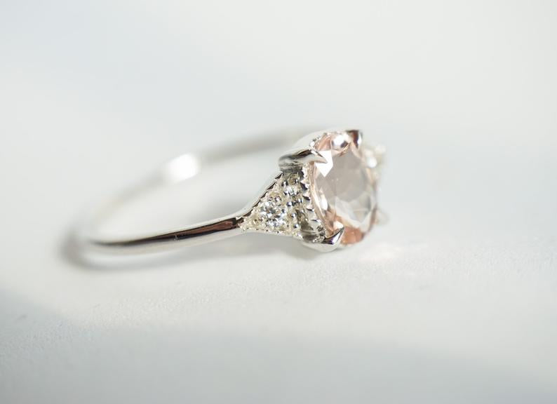 Cara No. 2 | Morganite & Diamond Side Stone Triangle Ring