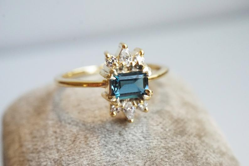 Stella | Octagon London Blue Topaz & Diamond Petite Cluster Ring