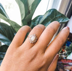 Lana | 14K Australian Opal & CZ Fancy Halo Ring