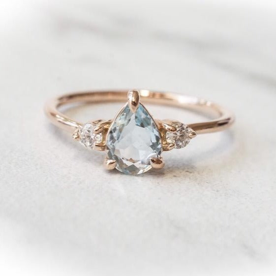 EVA | 3-Stone Pear Aquamarine and Diamond Ring