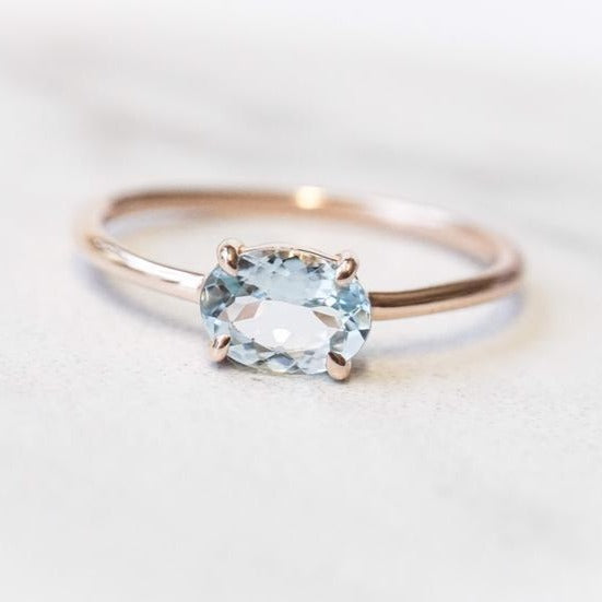 EVA | 14K 0.7 ct. Oval Aquamarine East West Solitaire Ring