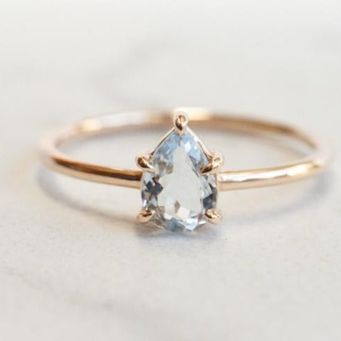 EVA | 14K Pear Aquamarine Five-Prong Solitaire Ring