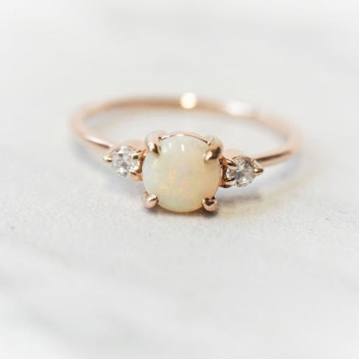 EVA | Three-Stone Round Australian Opal and Diamond Ring