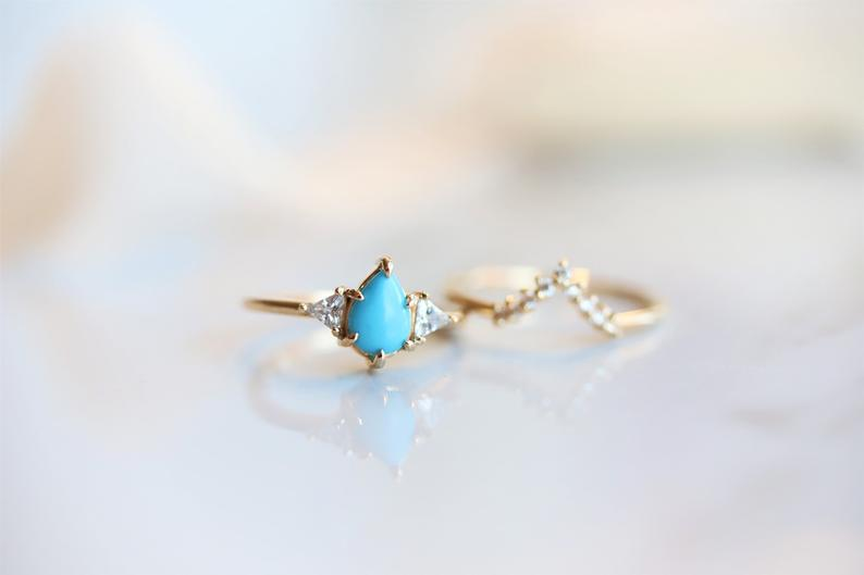 Alexis l Pear Turquoise & Triangle Moissanite Ring