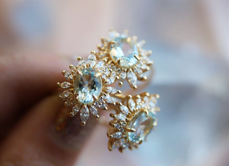 Lana | 14K Aquamarine & CZ Fancy Halo Ring