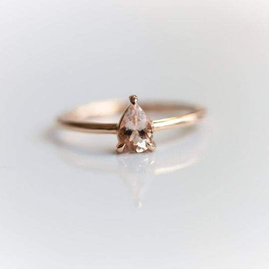 EVA | 0.4 ct. Pear Peach Morganite Solitaire Ring