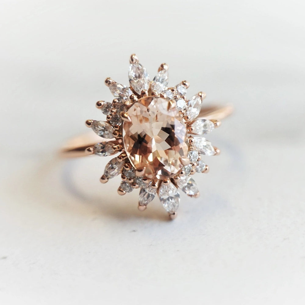 Lana | 14K Oval Morganite & Diamond Fancy Halo Luxury Ring