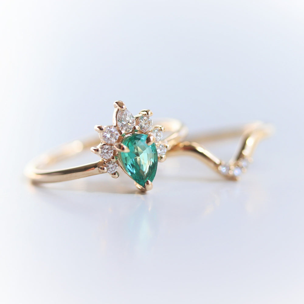 Ophelia | 14K Pear Natural Emerald and Diamond Ring