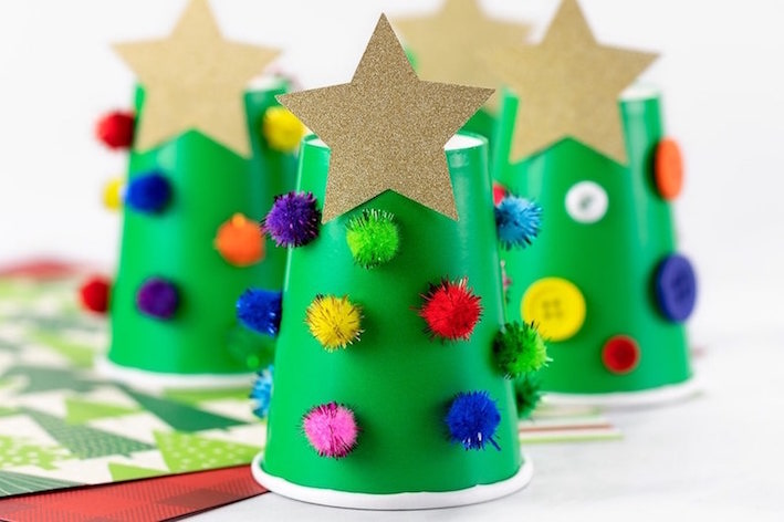 Paper cup Christmas trees