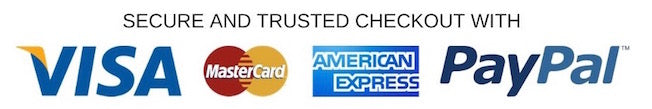 Secure checkout with PayPal, Visa, MasterCard or AMEX