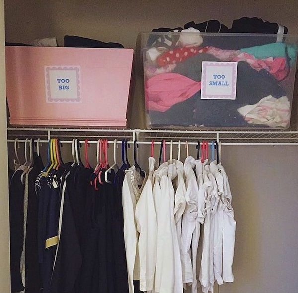baby clothes organisation - TOO BIG and TOO SMALL bins