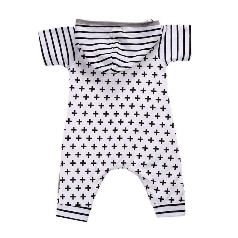 Stripes & Crosses Hooded Onesie | Clothing - Lulu Babe
