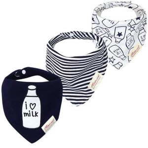 I Love Milk Bandana Bibs 3 Pack | Unisex Baby Accessories - Lulu Babe