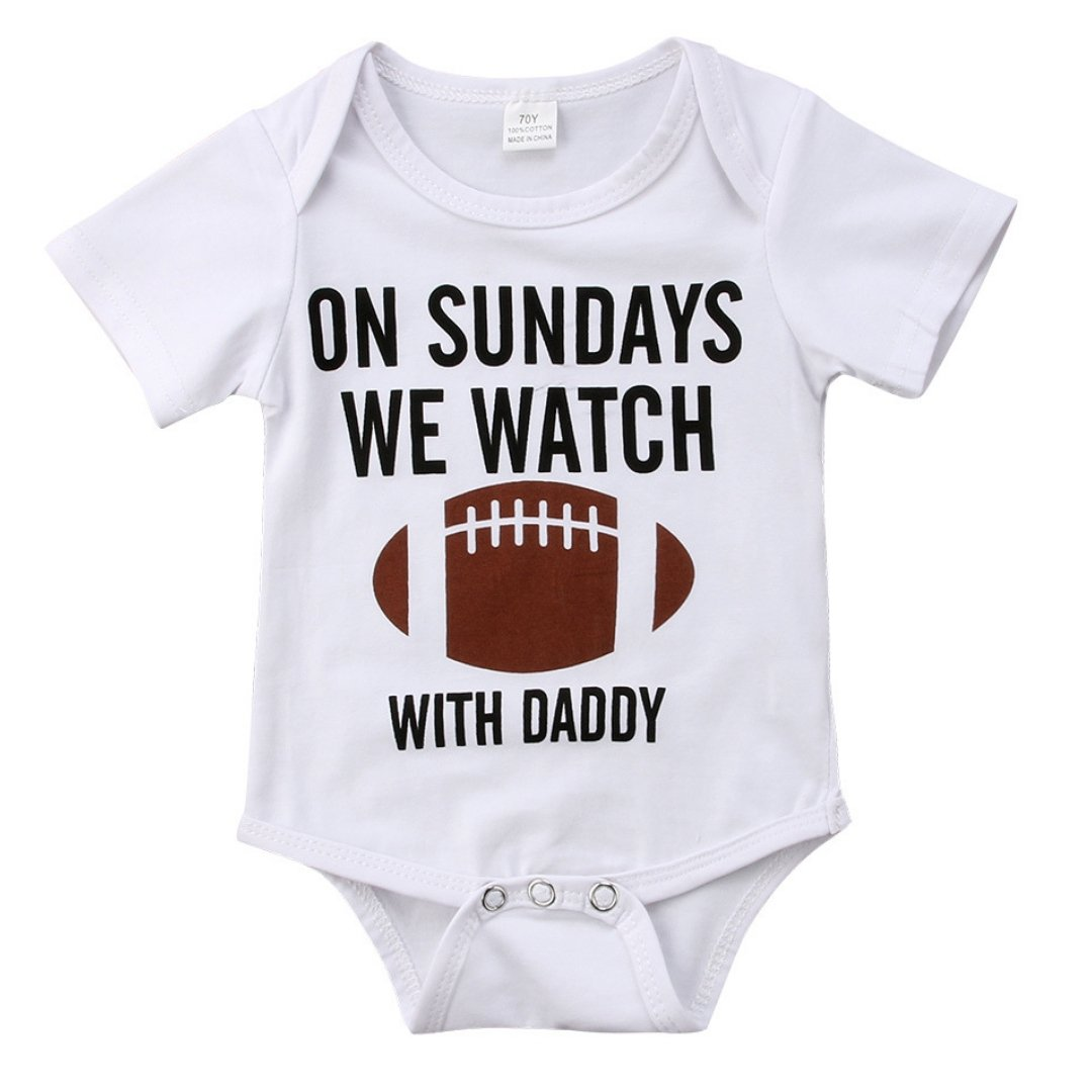 On Sundays We Watch Football With Daddy Romper | Clothing - Lulu Babe