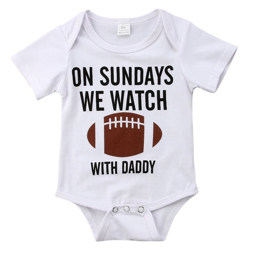 On Sundays We Watch Football With Daddy Romper | Baby Boy Clothes - Lulu Babe