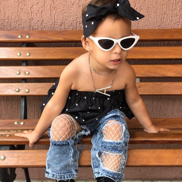 Polka Dot Ripped Jeans Set | Clothing - Lulu Babe