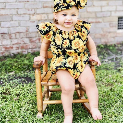 Sunflower Romper | Clothing - Lulu Babe