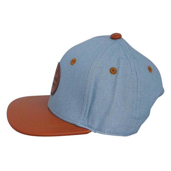 Denim and Tan Snapback Hat