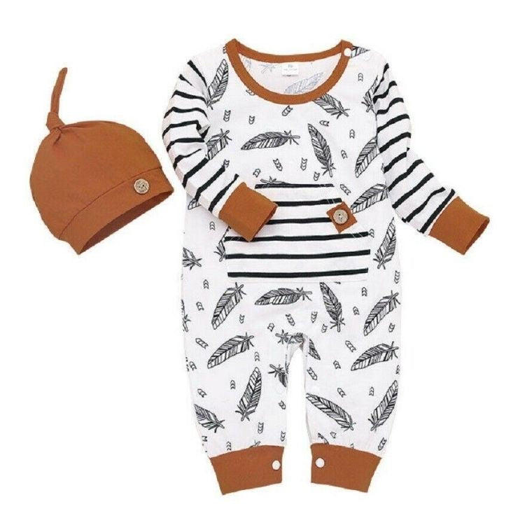Feather & Stripes Romper | Clothing - Lulu Babe