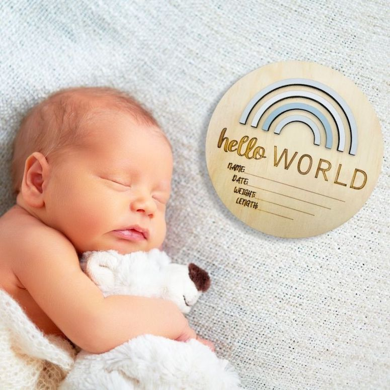 Birth Announcement Plaque - Hello World | Nursery - Timber Tinkers