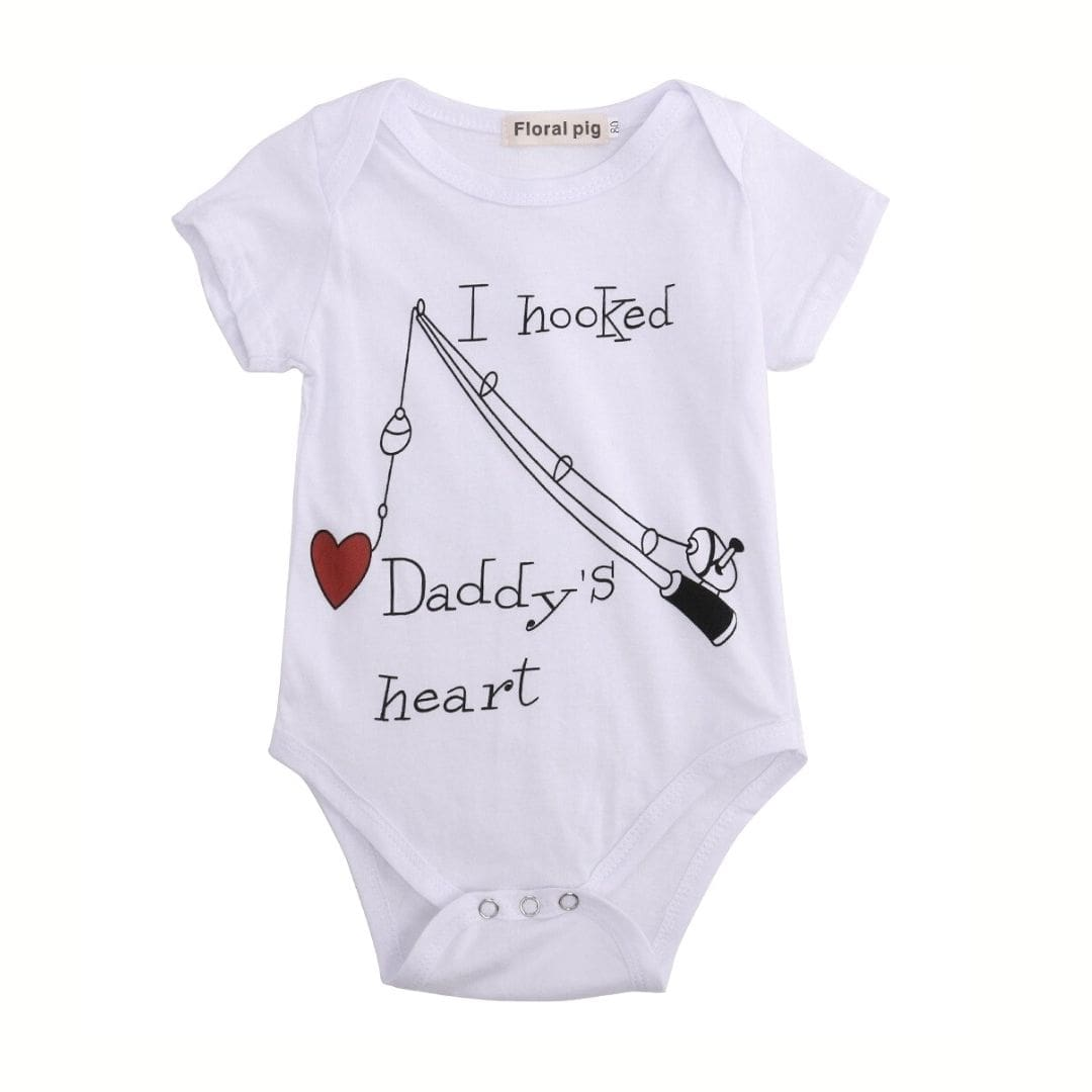 Hooked Daddy's Heart Romper | Clothing - Lulu Babe