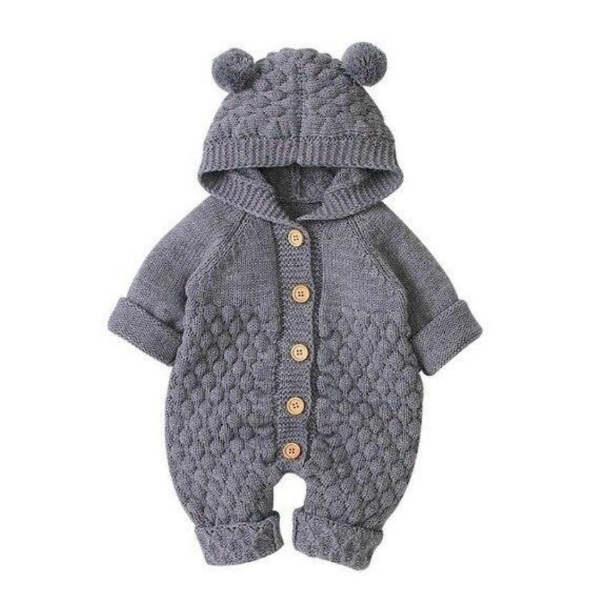 Knit Baby Bear Onesie | Clothing - Lulu Babe