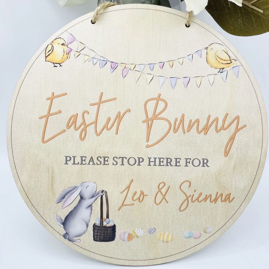 Personalised Easter Bunny Please Stop Here Sign |  - Timber Tinkers