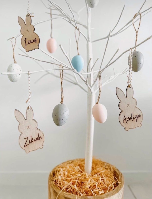 Personalised Easter Tag - Bunny head |  - Timber Tinkers