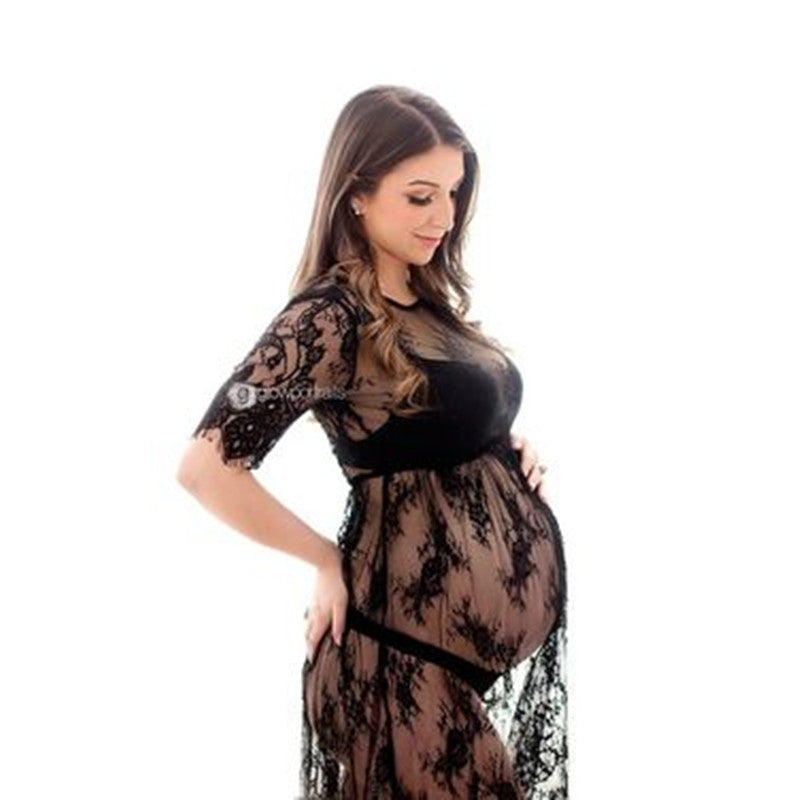 Le Couple Pregnant Women Lace Dresses Maternity Photography Fancy Props Dresses Maternity Photo Shooting Crochet Lace Dresses