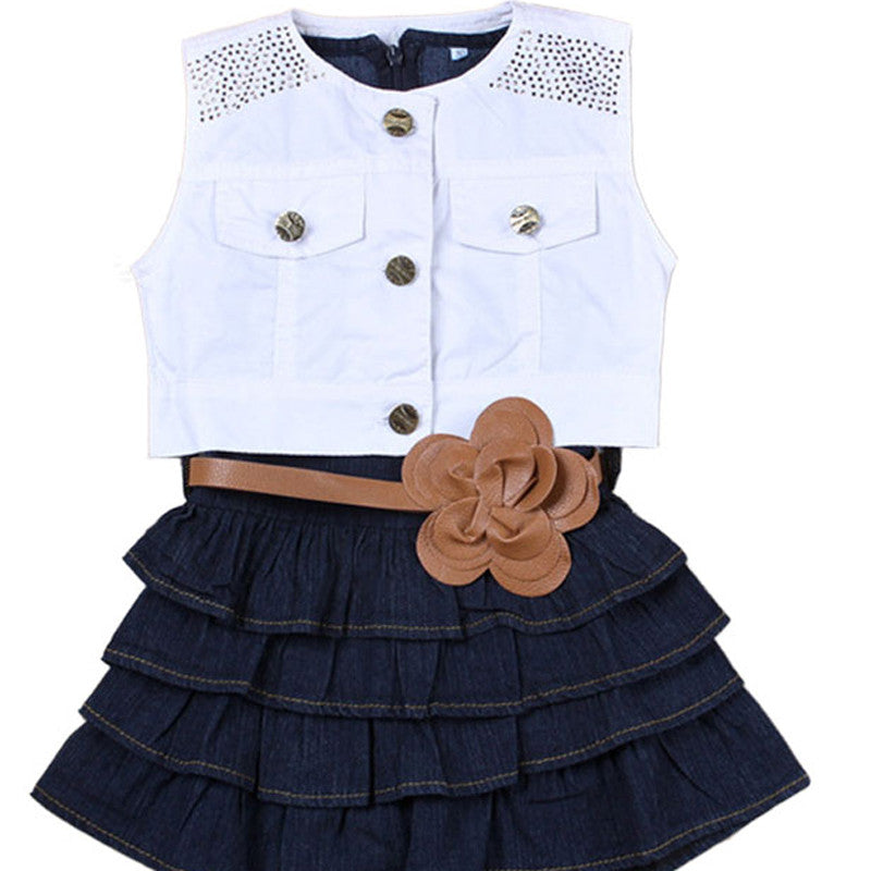 Hot Sale Girls denim vest skirt Children Girls Summer Models Girls Vest Jeans Dress + Jacket 2pc Suits