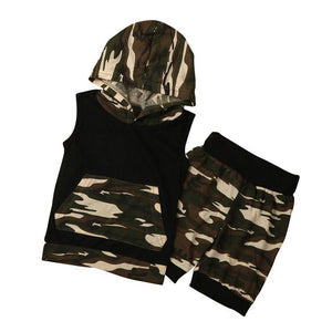 Camouflage Hooded baby boys set T-Shirt Tops+Shorts Pants 2PC Set Clothes children's set clothes Drop ship