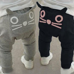 2017 Fashion spring and autumn kids clothing boys girls harem pants cotton Cartoon Cat Print Harem Pants trousers baby pants