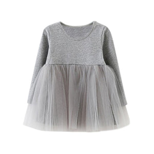 2017 Casual Kids Dresses Girls Dress Long Sleeve Baby Girls Tutu Dress Tulle Fluffy Girls Princess Dress Toddler Girls Clothing
