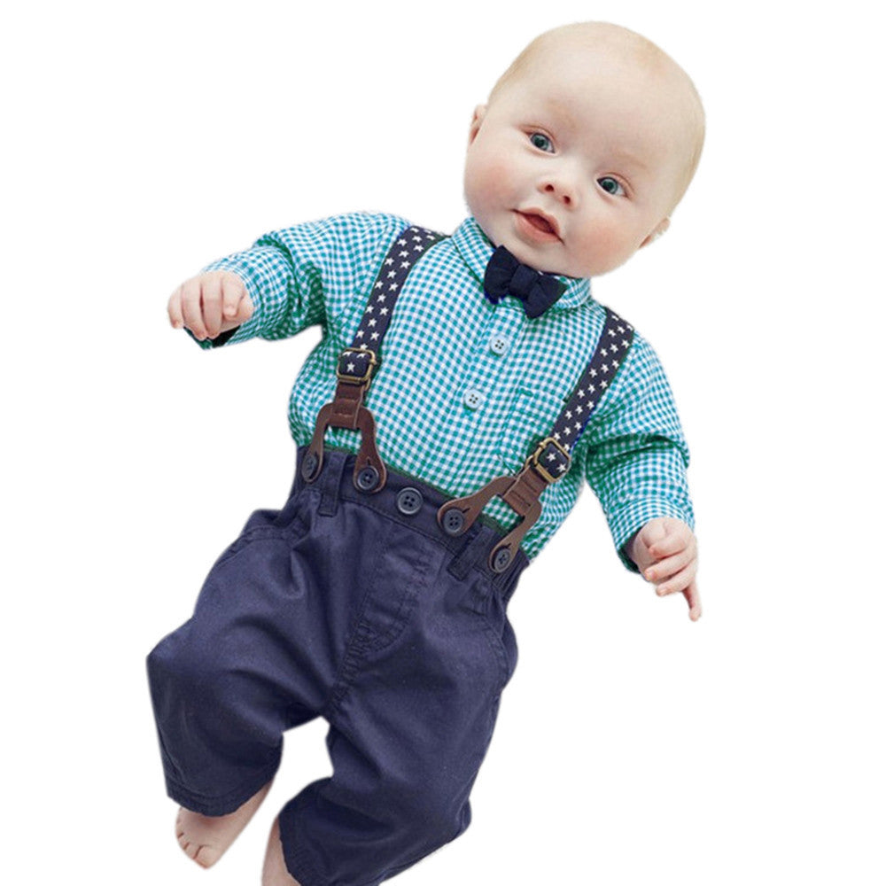 Baby Boy Clothes 2017 Spring New Brand Gentleman Plaid formal Clothing Suit For Newborn Baby Bow Tie Shirt + Suspender Trousers