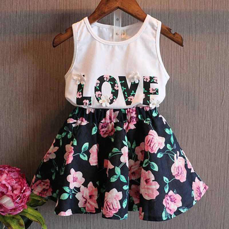 Girls Clothes School Skirts Flower Outfits 2pcs Children Toddler Kids Baby T Shirt Tops Vest + Floral Skirt Love Letter Clothes