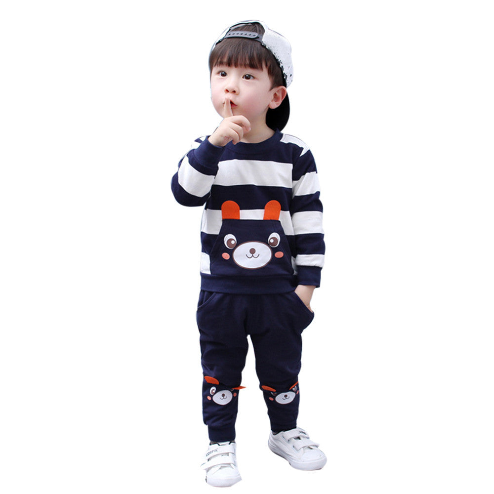 2017 Hot Sale Cotton New Arrival Autumn Winter Kids Baby Girl Boy Clothes Set Striped Bear Tops+pants Outfits Children Clothing