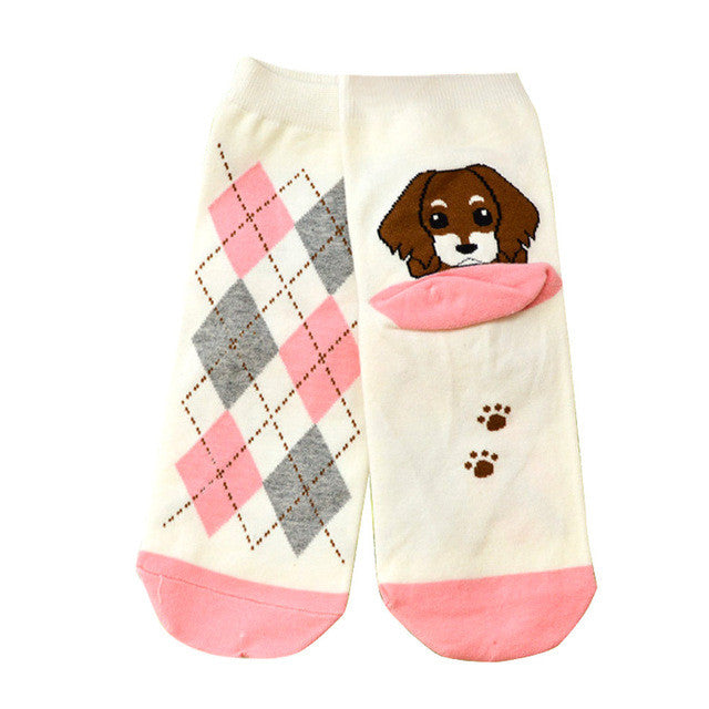 Socks Girls calcetines mujer Fashion 3D Print Funny Low Cut Xmas Socks Cotton Animal Dog Casual Sock meias
