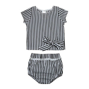 2PCS Newborn Infant Baby Girls Clothes Set Outfits Children Clothing T-shirt Tops Short Pants Summer Girl Cute Strip Sunsuit