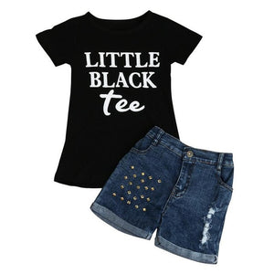 2017 Fashion Toddler Girls clothing sets cotton Letter Printed T-shirt and denim pants summer Kids Clothes Suit Girls Outfit